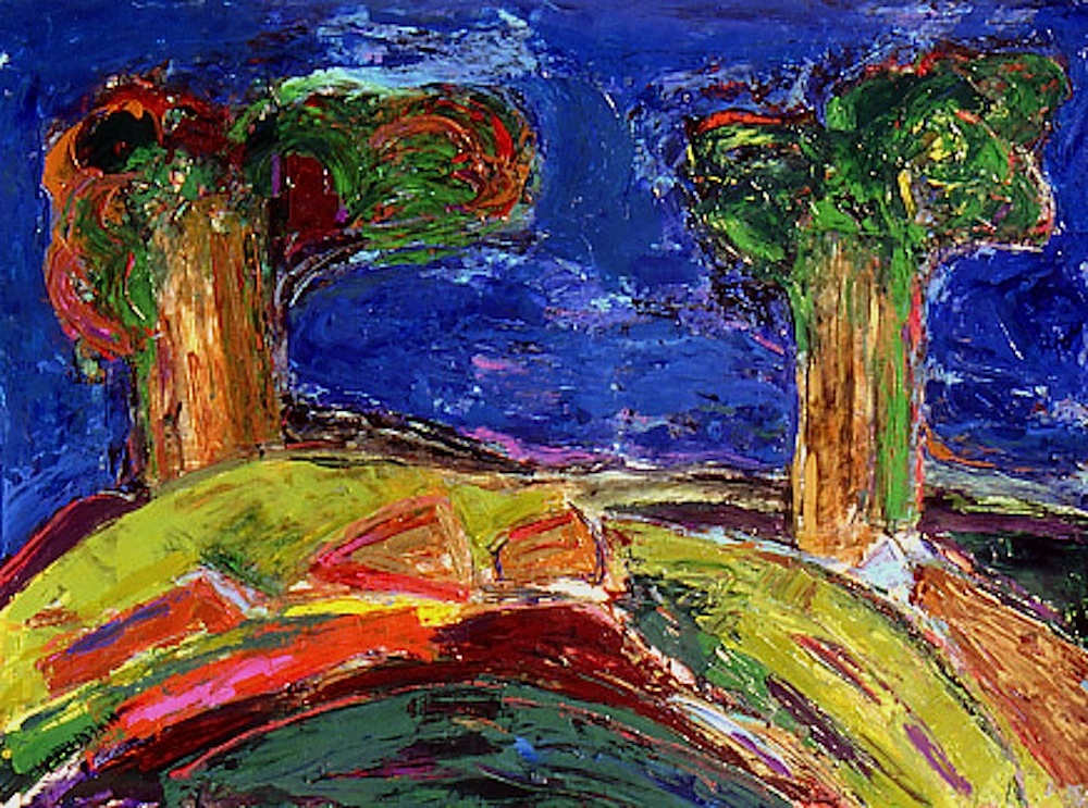 Nan Hass Feldman acrylic painting of trees on a hill