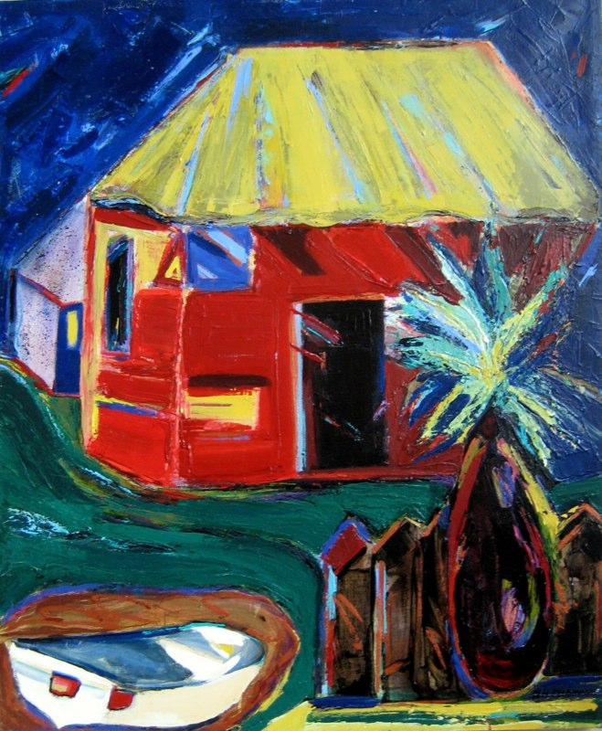 Nan Hass Feldman acrylic painting of a red house