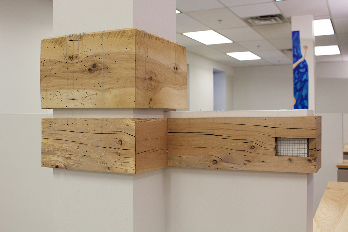 Meghan Caveney installation of reclaimed hickory flooring and cherry joist lumber suspended by wires under tension