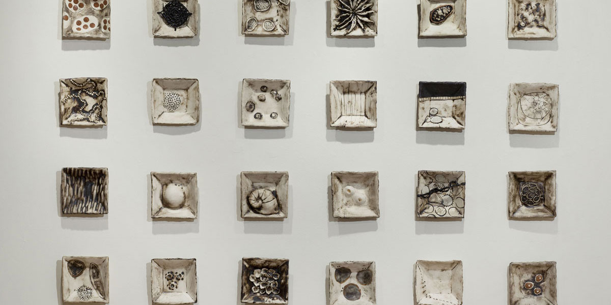 Michelle Lougee piece showcasing cells using ceramics and mixed media