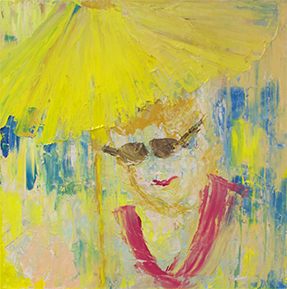 Lisa McCarthy brightly colored painting of a person wearing sunglasses with a yellow umbrella