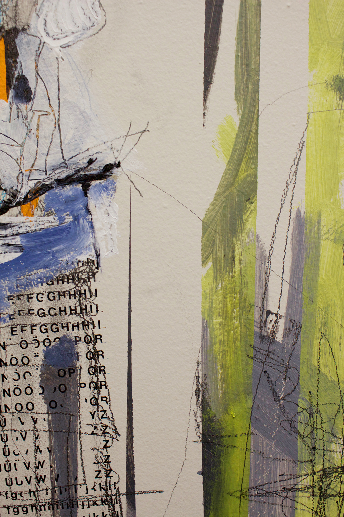 Lisa McCarthy closeup of a painting inspired by industrial machinery and the environment
