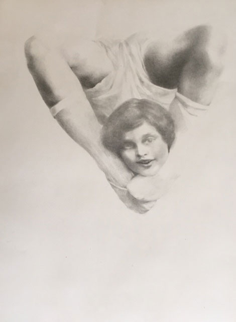 Shailin Messer drawing using graphite of a child jumping in the air with their feet under their chin