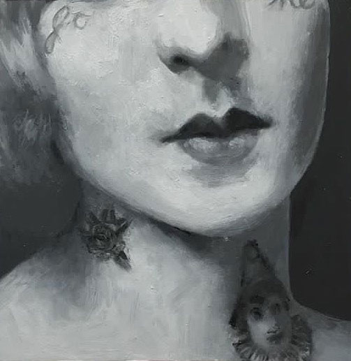 Shailin Messer painting of a closeup of a woman's face with tattoos on her face and neck