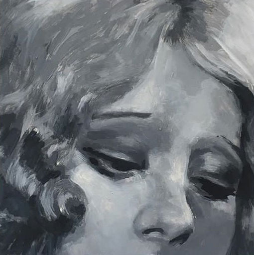 Shailin Messer black and white painting of a closeup of a woman's face from the top of her head, to the bottom of her nose.