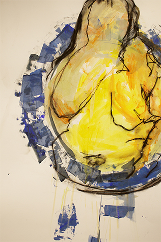 Lisa McCarthy image of a woman in a circle using ink, gouche, graphite, and charcoal on paper