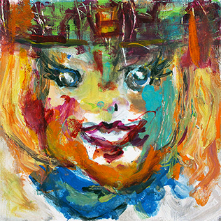 Susan Bazett colorful painting of a little girl's face