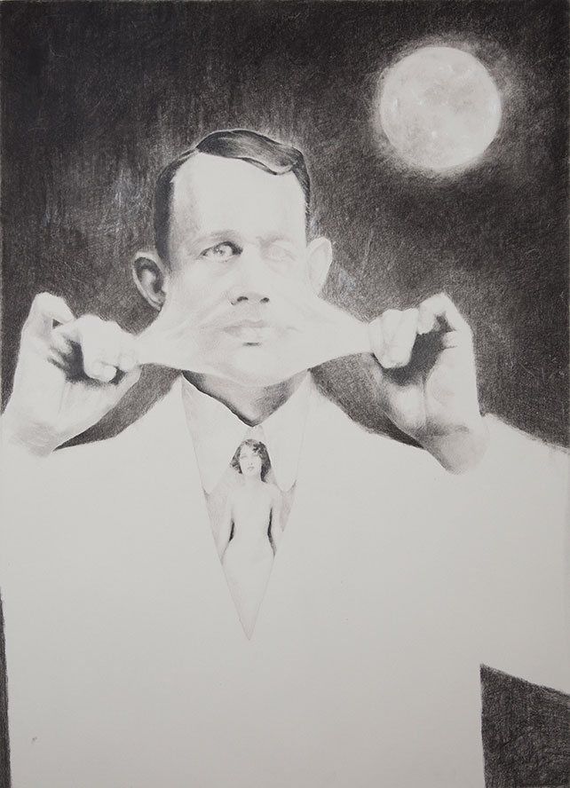 Shailin Messer drawing of a distorted human figure pulling the skin of his face off